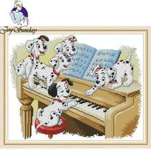 Joy Sunday,Five dog,cross stitch embroidery set,Chinese cross pattern,cross needlework,Animal pattern