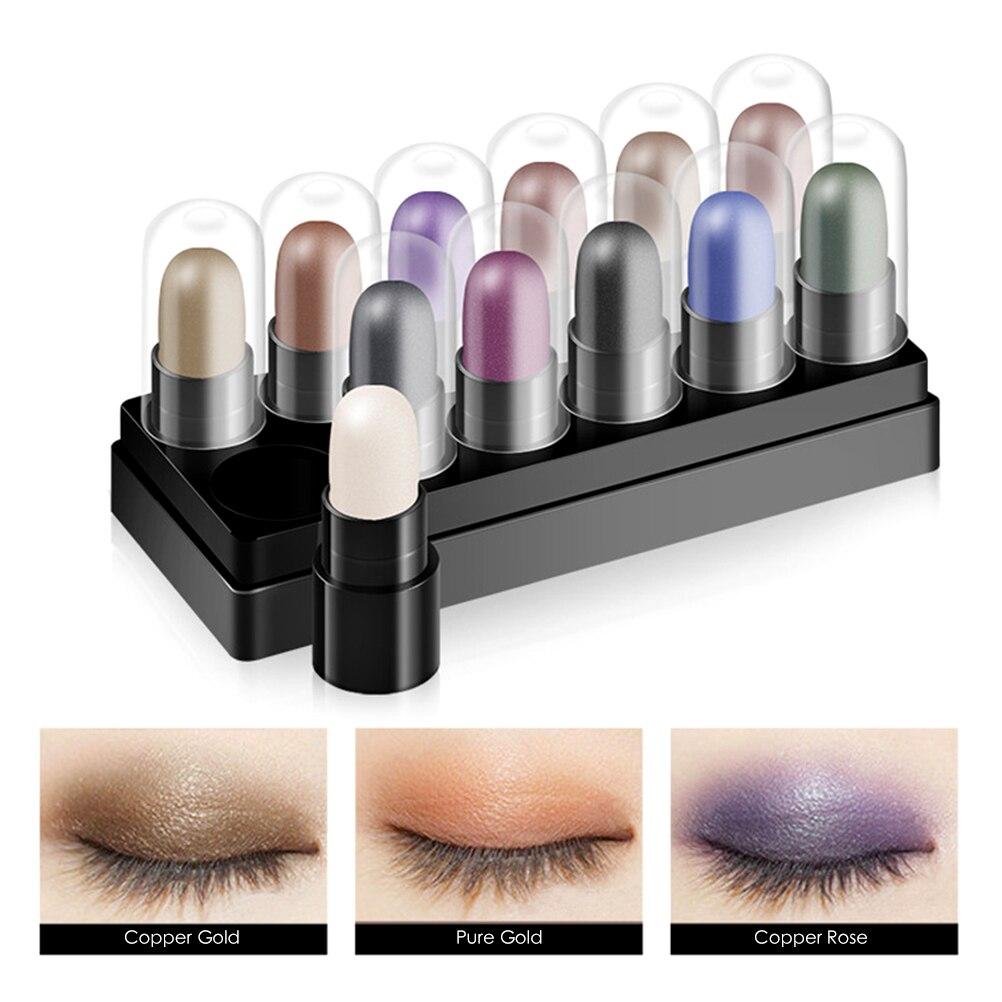 Тени для век 12 шт./компл., блестящие мерцающие тени для век для макияжа, пигментная ручка для макияжа, тени для век, карандаш, косметический на...
