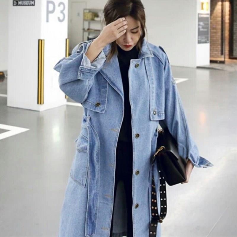 2019 Autumn Women Casual Loose X-Long Denim   Trench   Coat Female Plus Size Long Sleeve Adjustable Waist Denim Coat
