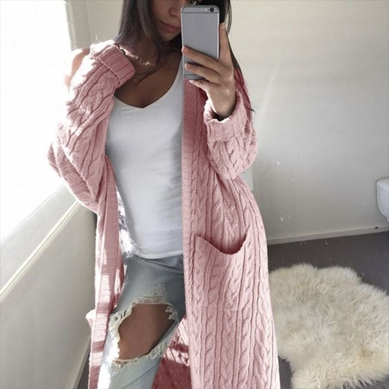 Casual Knitted Cardigan Coat Women Big Pockets Sweater Autumn Winter Long Warm Outwear Thick Twisted Sweaters