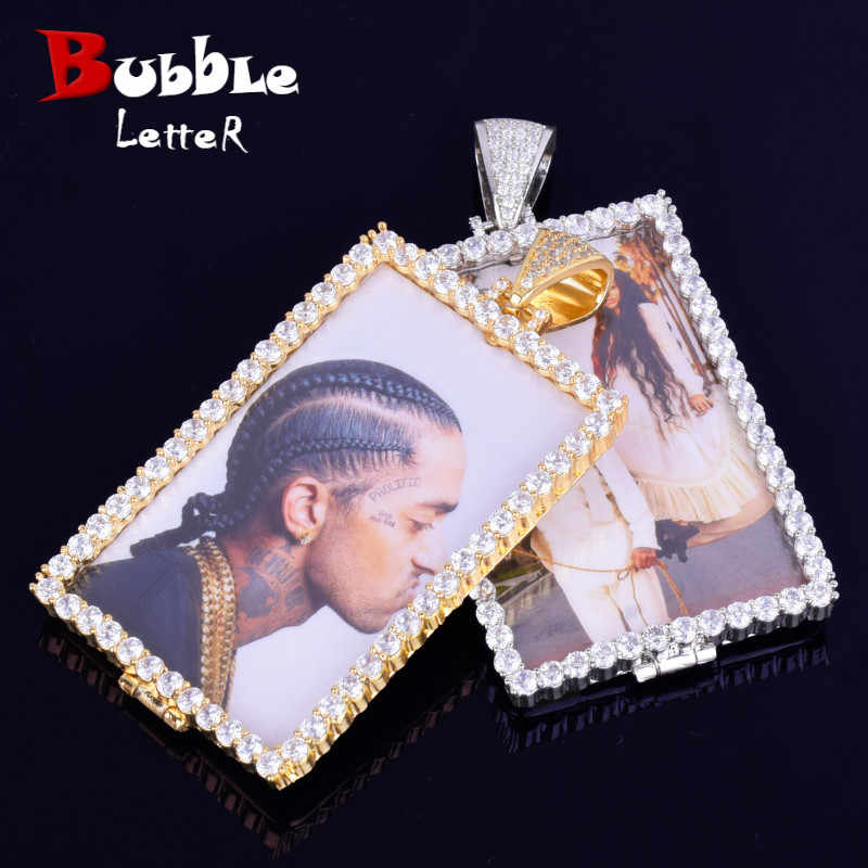 Custom Made Photo Squar Medallions Necklace & Pendant with 4mm Tennis Chain Gold Silver Color Cubic Zircon Men's Hip hop Jewelry