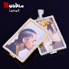 Custom Made Photo Squar Medallions Necklace & Pendant with 4mm Tennis Chain Gold Color Cubic Zircon Mens Hip hop Jewelry
