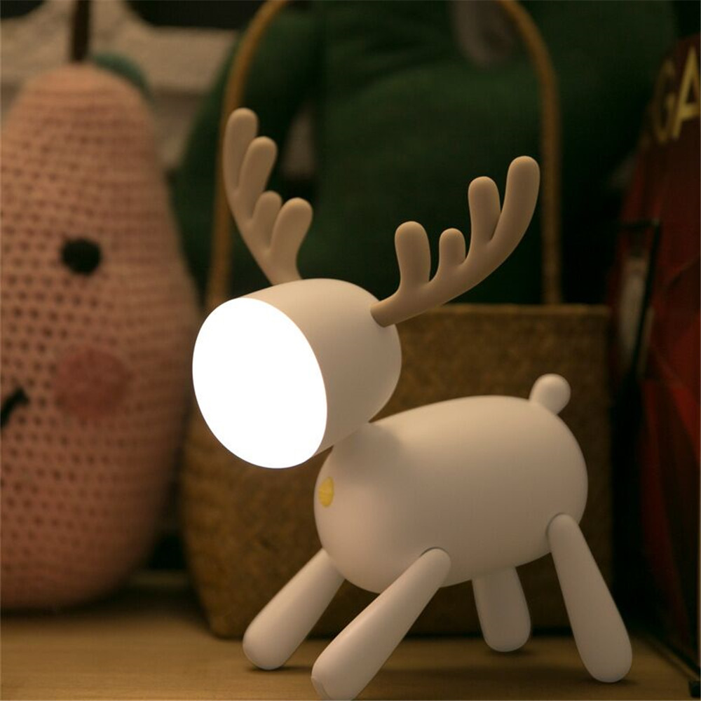 USB Rechargeable Cute Deer LED Night Lights Dimmable Bedside Table Desk Lamp With Timer Function For Kids Room Baby Nursery