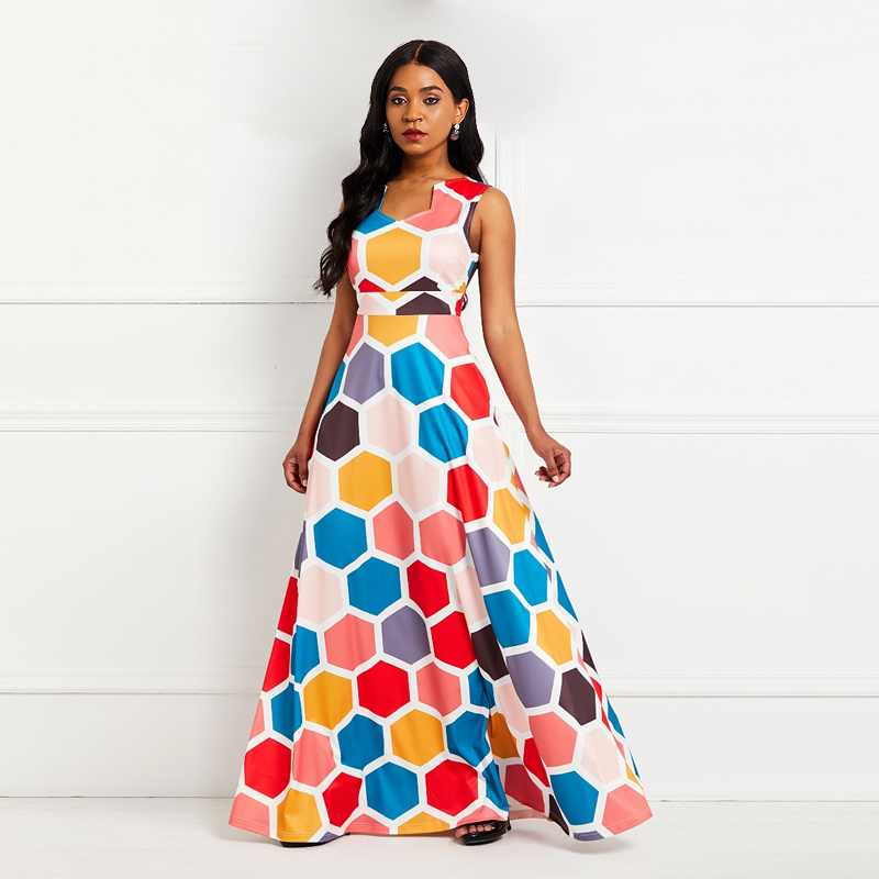 Sisjuly Women Maxi Dresses Floral Length Printed Sexy Ladies Party Dress Pink Elegant Beach Office Geometric Summer Long Gown