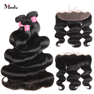 Image 2 - Meetu Indian Body Wave Bundles with  Frontal Pre Plucked Hair Bundles with Closure 13x4 Frontal with Bundles Non Remy Human Hair