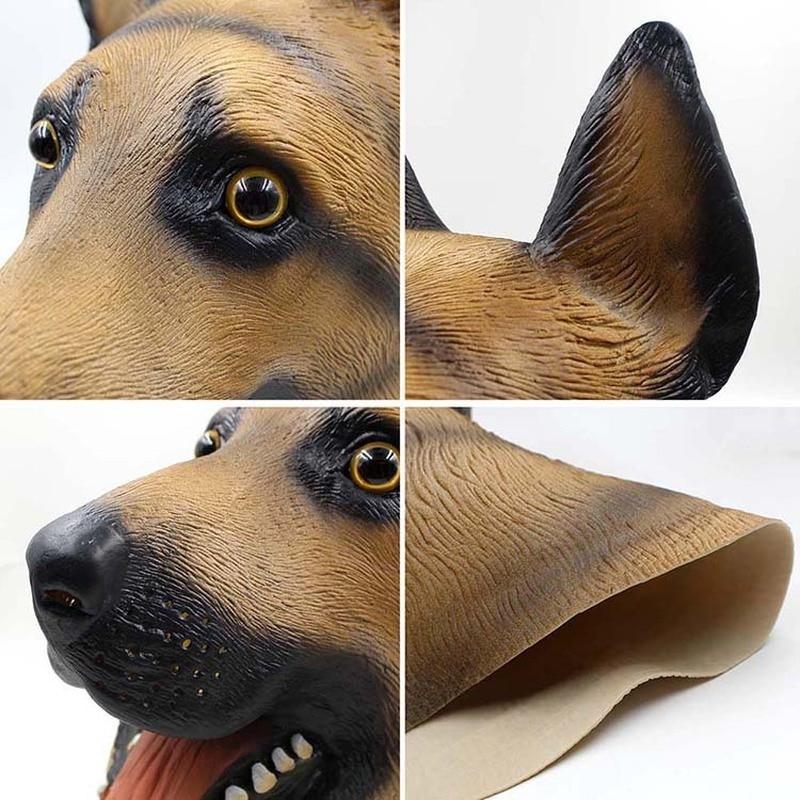 German Shepherd Alsatian Dog Mask Latex Animal Masks Fancy Dress Costume