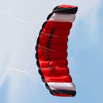 1 8m podwójna linia spadochron Stunt latawiec zabawa na świeżym powietrzu latać z latającym narzędziem latawiec Parafoil odkryty zabawa na plaży Sport dobry latawiec zabawka tanie i dobre opinie Z tworzywa sztucznego Dla dorosłych Nylon Huge Black White 180*65cm Unisex 6-15 Years Grownups Surfing Kite Kite Handle Line