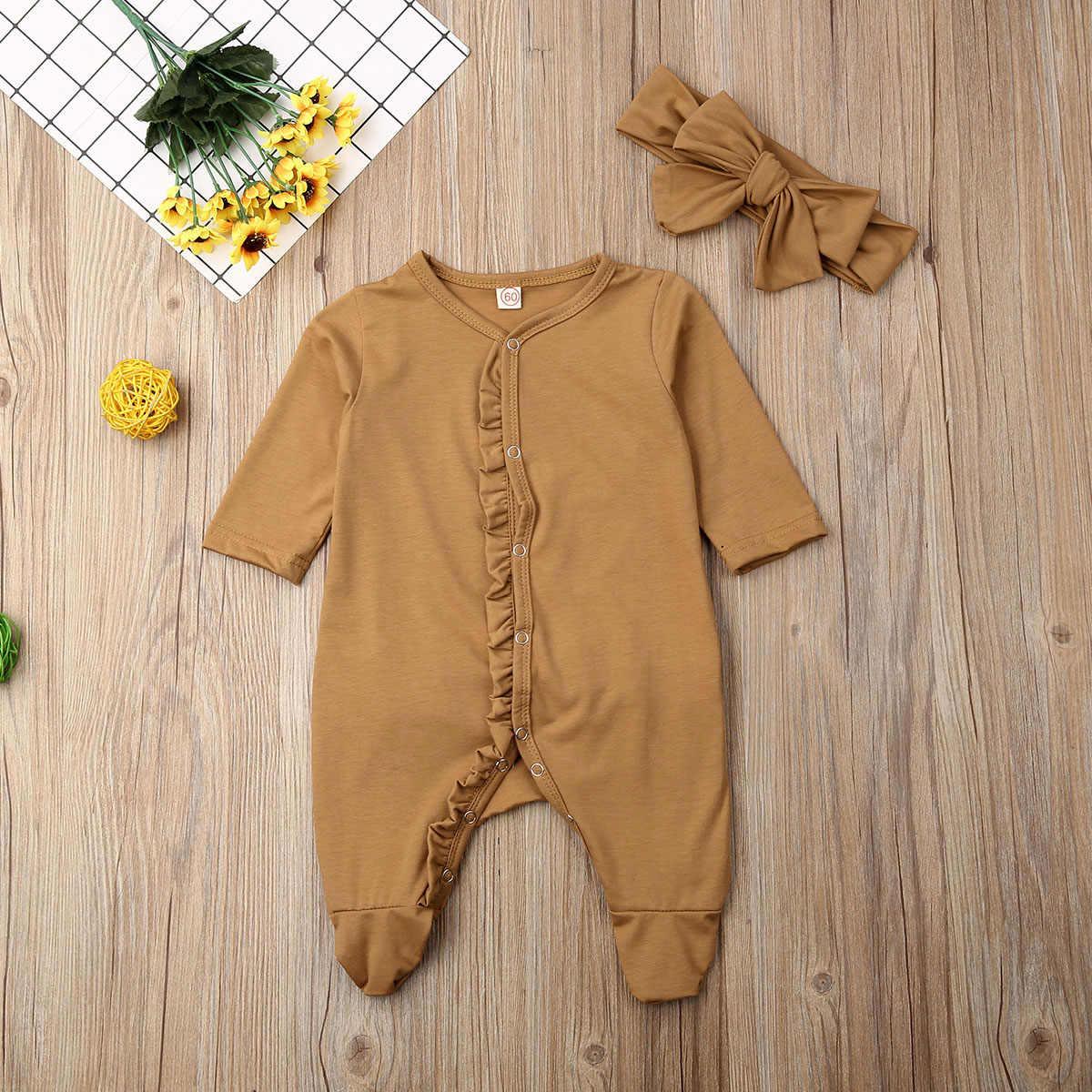 2019 Bayi Musim Semi Musim Gugur Pakaian Bayi Bayi Anak Laki-laki Anak Perempuan Lengan Panjang Footies Mengacak-acak Baju Tidur Piyama Headband 2 Buah Set Pakaian