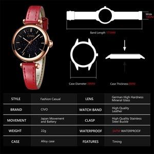 Image 5 - CIVO นาฬิกาผู้หญิง Montre Femme 2019 แบรนด์นาฬิกาข้อมือควอตซ์นาฬิกาสุภาพสตรีนาฬิกาสุดหรูสายหนังสีแดงนาฬิกากันน้ำ 8104