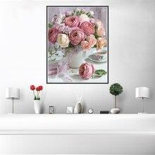 Nórdico Vintage rosa VBeautiful Rosa lienzo con flores arte Poster pared cuadro decoración del hogar