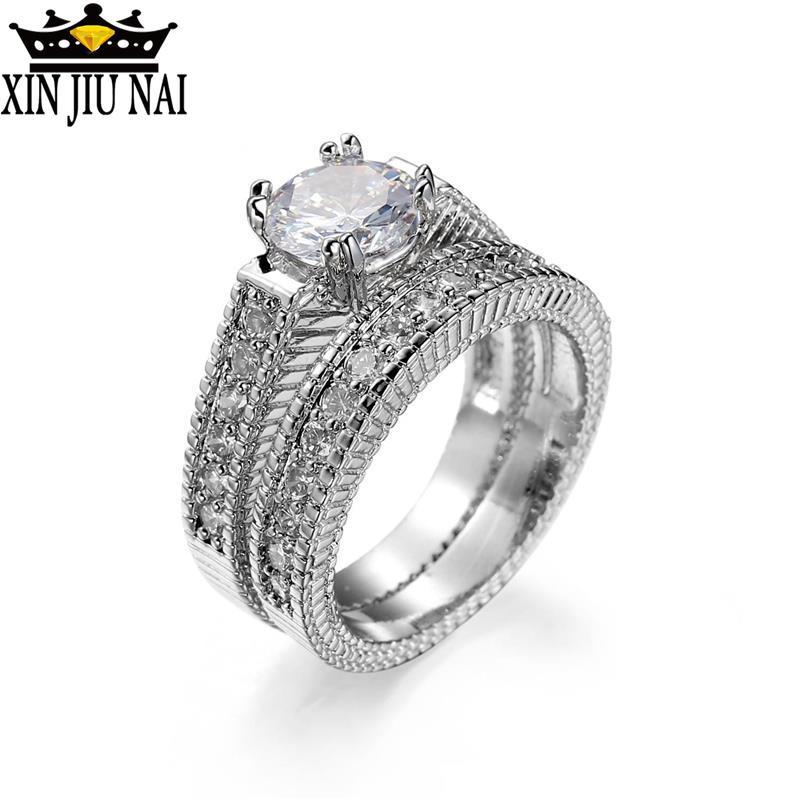 Women New Trendy 925 Sparkling Zircon Wedding Ring Set For Female Silver Round Stone 2 Pcs Rings Teen Girls Handmade Jewelry