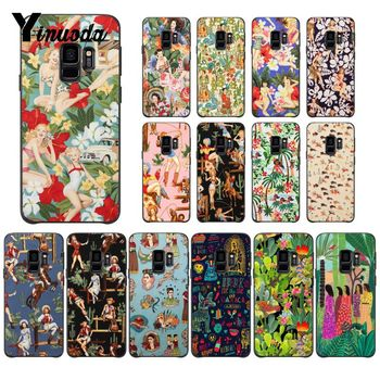 Yinuoda Aloha Girls Fabric by Alexander Henry Phone Case Shell for Samsung Galaxy S9 plus S7 edge S6 edge plus S10 S8 plus case image