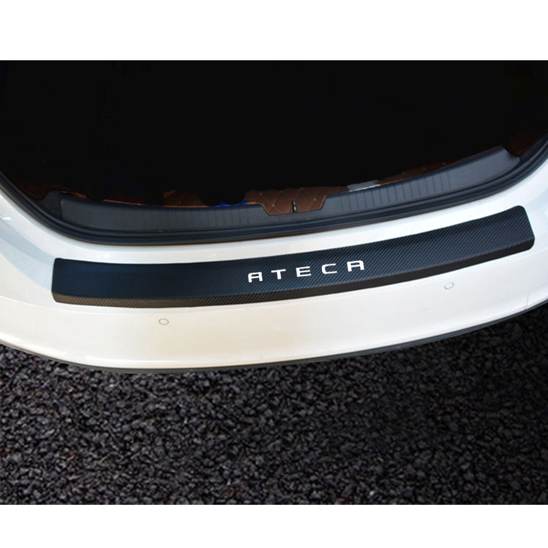 For Seat Ateca PU Leather Carbon Fiber Styling After Guard Rear Bumper Trunk Guard Plate Car Accessories