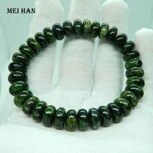 Meihan (1 pulseras/39g) natural 4 6*6*10mm verde diópsido de cromo PIEDRA DE rondelle perlas para joyería bricolaje al por mayor