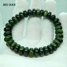 Meihan (1bracelets/set/39g) natural 4 6*10mm green chrome diopside rondelle  stone beads for jewelry DIY making wholesale