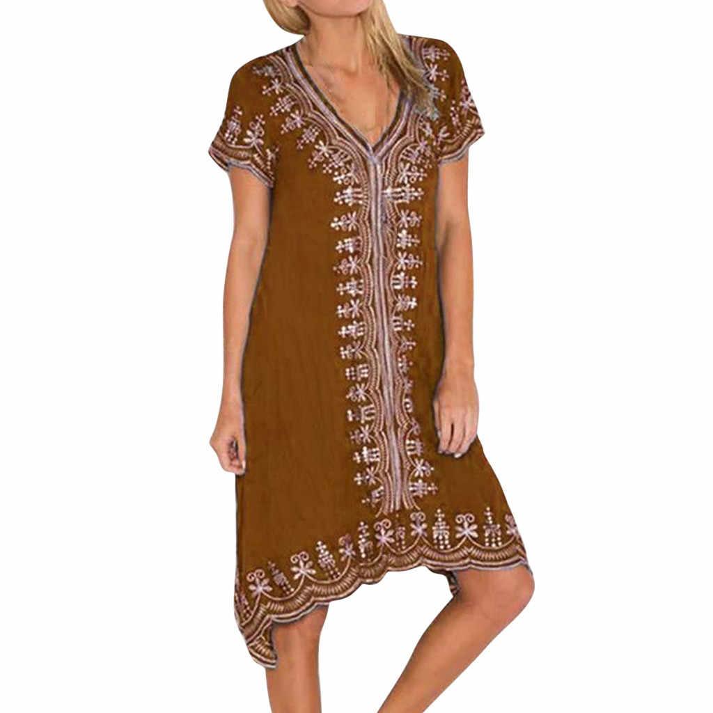 Missomo Mùa Hè Nữ Plus Kích Thước 5XL Nữ Châu Phi In Cổ Chữ V Miếng Dán Cường Lực Tay Ngắn Vestidos Vintage 716