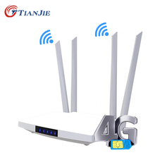 TIANJIE 4G LTE Cat4 WIFI Modem Sim Card GSM Router Wireless Hotspot Home 300Mbps 2 RJ45 LAN WAN Port Indoor CPE 32 Users