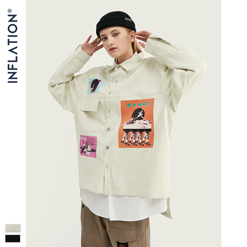 Image 4 - INFLATION DESIGN Oversized Fit Graphic Printing Men Shirt Black  White Relaxed  Men Casual Shirt Streetwear Style 92154WCasual Shirts