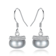 YUEYIN 925 Sterling Silver Earrings Dangle 10-10.5mm Nature Pearl Fine Jewelry for  Women 2018 Boutique Bling Bohemian