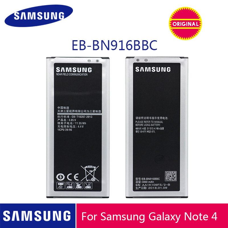 SAMSUNG Original Phone <font><b>Battery</b></font> EB-BN916BBC <font><b>3000mAh</b></font> For Samsung Galaxy NOTE4 N9100 N9106W N9108V N9109V <font><b>Note</b></font> <font><b>4</b></font> <font><b>Batteries</b></font> + NFC image