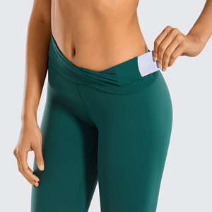 Image 4 - SYROKAN Women Naked Feeling High Waist Goddess Extra Long Over The Heel Yoga Legging with Pocket  32 inches