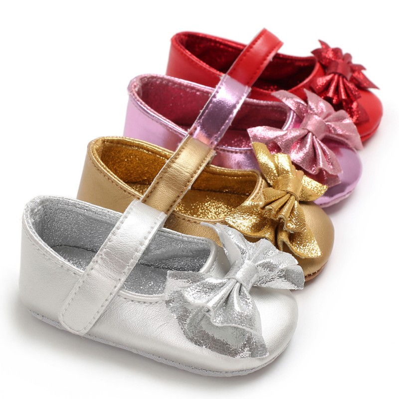 PU Leather Princess Crib Shoes Sneakers Indoor Toddler Shoes First Walkers Soft Gold Silver Girls Moccasins Y