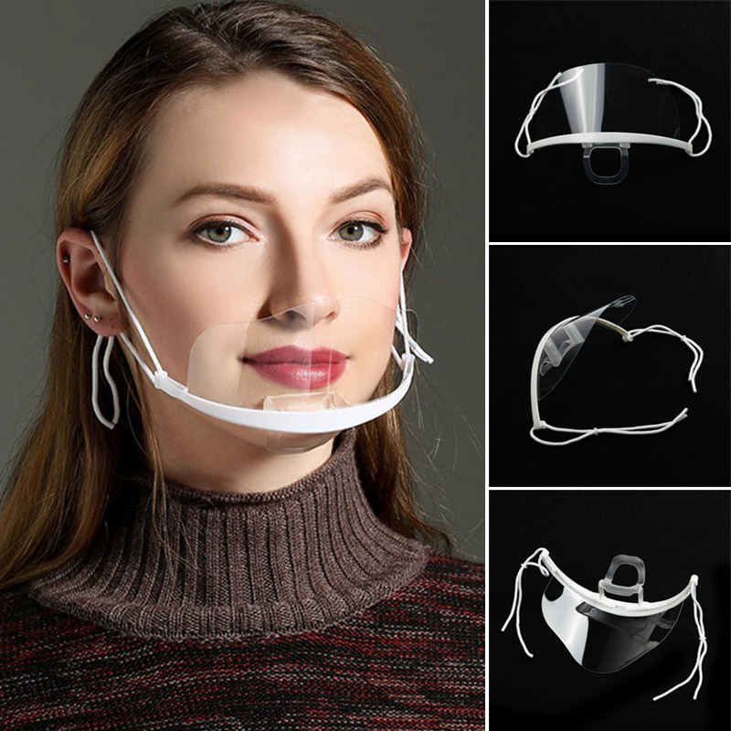 10 Pcs/Set Transparent Catering Mask Plastic Health Care Hygienic Anti Fog Shield Mouth Cover Masks MJ