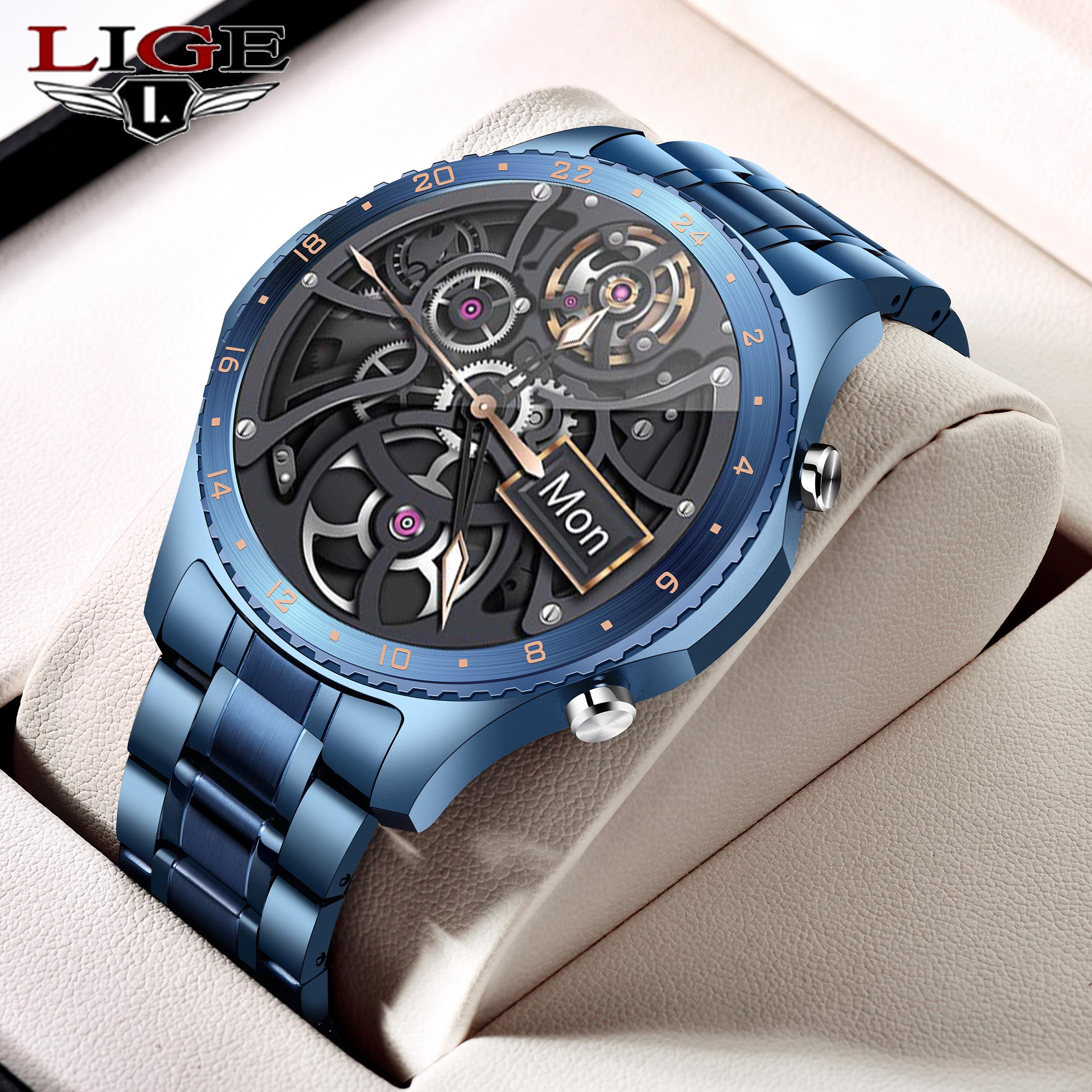 LIGE 2021 New Smart Watch Men Full Touch Screen Sports Fitness Watch Waterproof Bluetooth Call For Android IOS smartwatch Mens