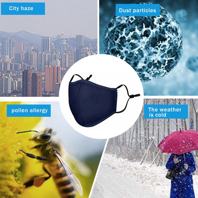 Hot Black Cotton Mask Mouth Face Mask Anti PM2.5 Dust Mask Activated Carbon Filter Korean Style Mask Fabric Face Mask Protect 5