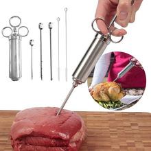 Stainless Steel Turkey Chicken Meat Flavor Injector Marinade Seasoning Injector Meat Syringe Sauce Tools Cooking Accessories