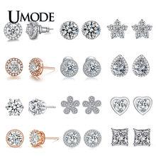 Модные серьги гвоздики umode с круглым сердцем из фианита кристаллами