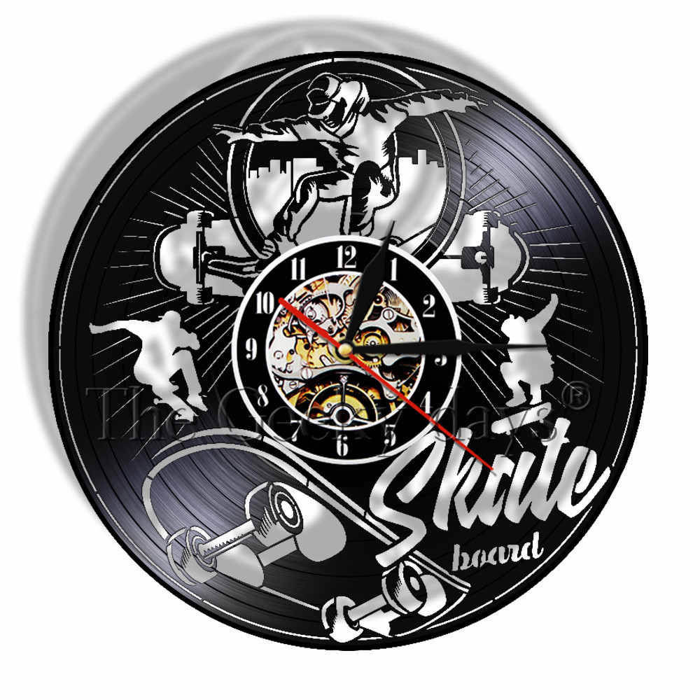 Skateboarding Retro Quartz Vinyl Record Wall Clock Extreme Sports Skate Boarder Unique Gifts For Him Vintage Longplay Wall Watch