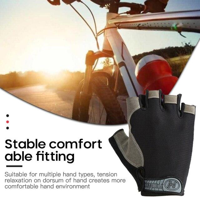 Luvas de ciclismo respirável metade do dedo luvas de equitação anti-deslizamento da motocicleta mtb bicicleta de estrada luvas 3