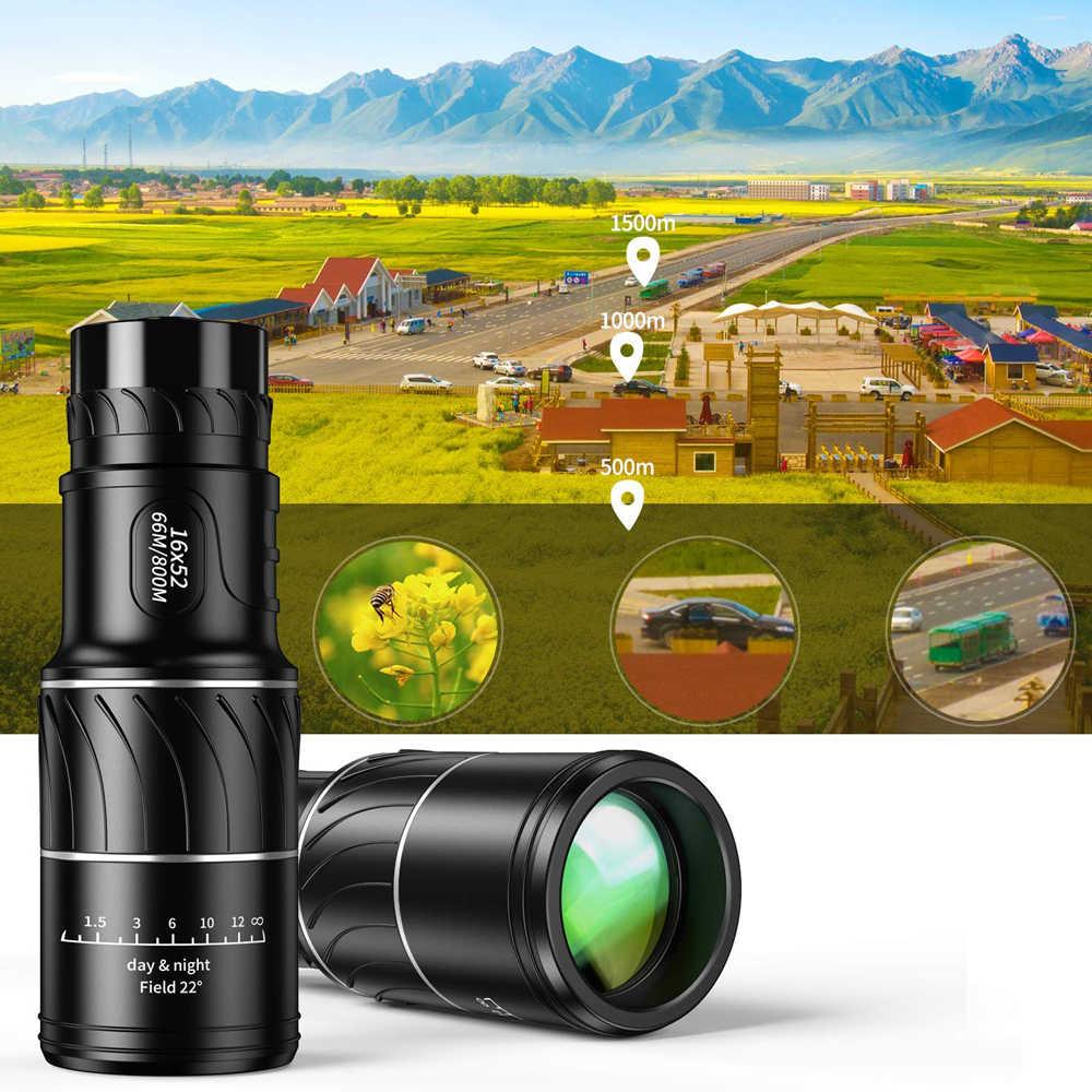 منظار أحادي العين محمول 16X52 66 / 8000 متر منظار أسود في الهواء الطلق الرياضة تلسكوب HD تليسكوب رؤية ليلية