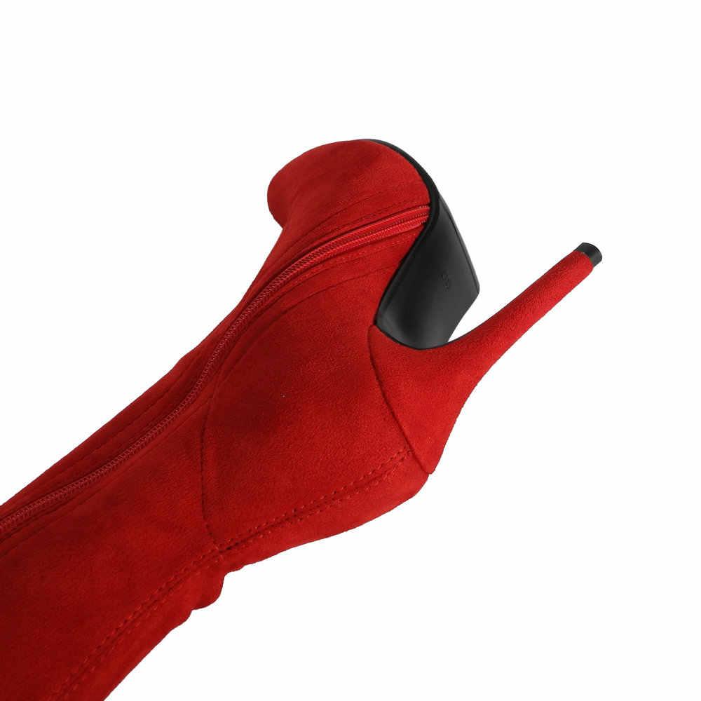 Streç süet kadın uyluk yüksek çizmeler Stiletto seksi diz üzerinde çizmeler sivri burun yüksek topuklu uzun çizmeler kırmızı siyah gri bej