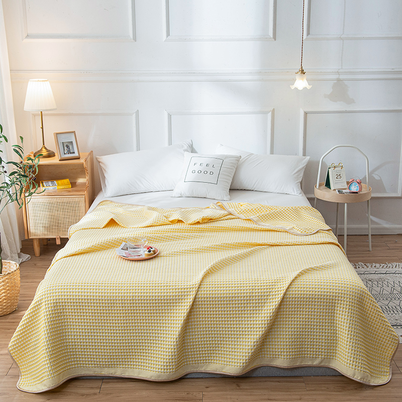 Bonenjoy 100%Cotton Thread Blanket Single Queen Size Yellow Towel Blankets Cotton Summer Bedspread King Size Knitted Blankets