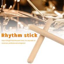 8 pares Orff de la escuela en casa Claves Natural madera accesorios para instrumentos principiante Musical baquetas de ritmo clásico