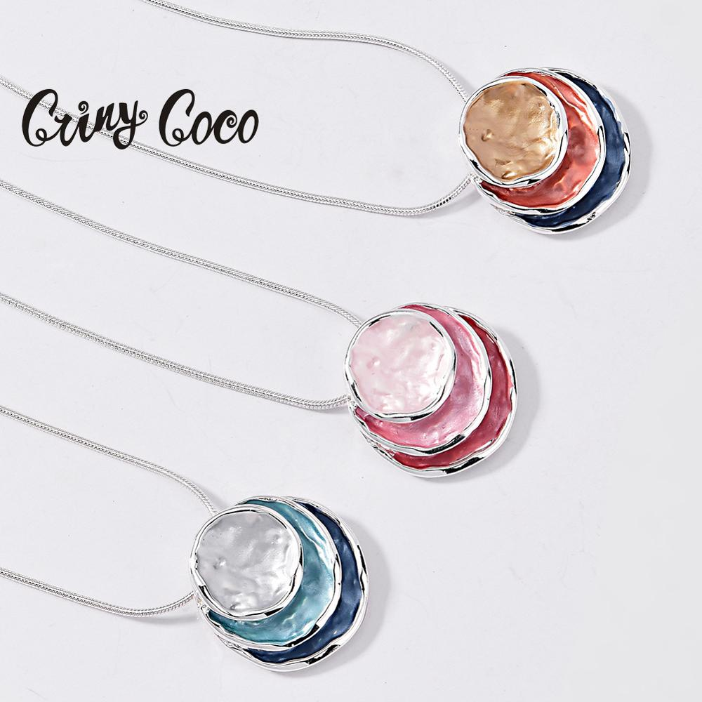 Cring Coco Round Pendant Necklace for Women Girl Statement Snake Chain Choker Necklaces Colorful Enamel Jewelry Valentines Gift