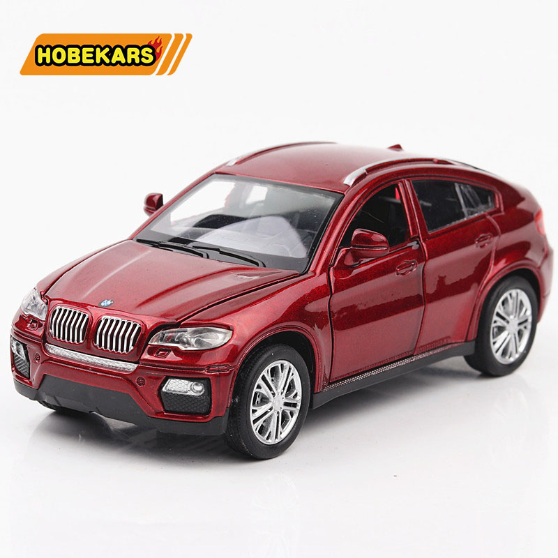1:32 Model Diecast Car SUV X6 Metal Alloy Simulation Pull Back Display Cars Lights Toys For Kids Gifts For Children