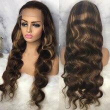 Resaltar Peluca de cabello humano cuerpo onda de encaje frente pelucas de cabello humano de color marrón pelucas de cabello humano Preplucked cabello peluca para mujeres