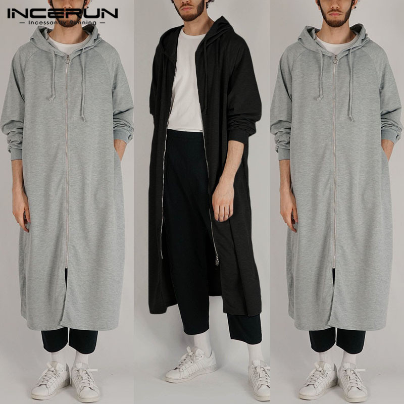 INCERUN Fashion Sweatshirts Men Solid Color Long Sleeve High Street Zippers Hooded Long Hoodies Men Hip-hop Outerwear Cloak 2019