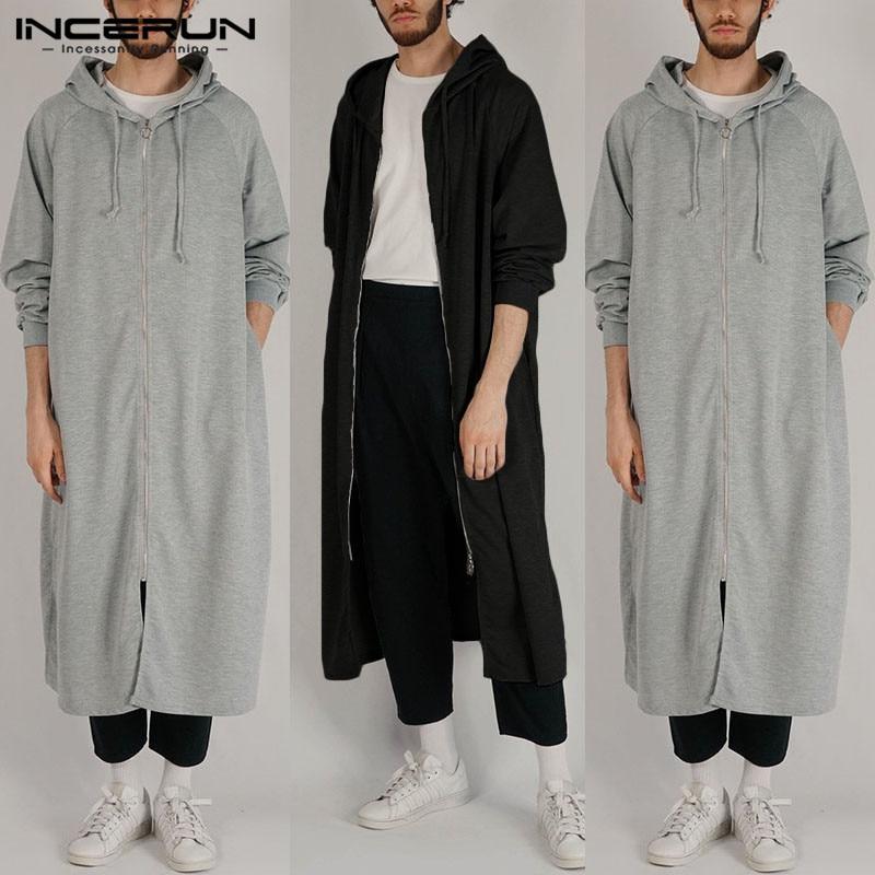 INCERUN Fashion Sweatshirts Men Solid Color Long Sleeve High Street Zippers Hooded Hoodies Hip-hop Outerwear Cloak 2019