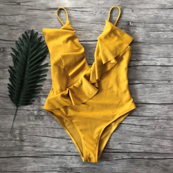 TITAME, спортивный купальник, сдельный, с глубоким вырезом, с оборками, купальник для женщин, без проволоки, пляжная одежда, летние купальники м... 6