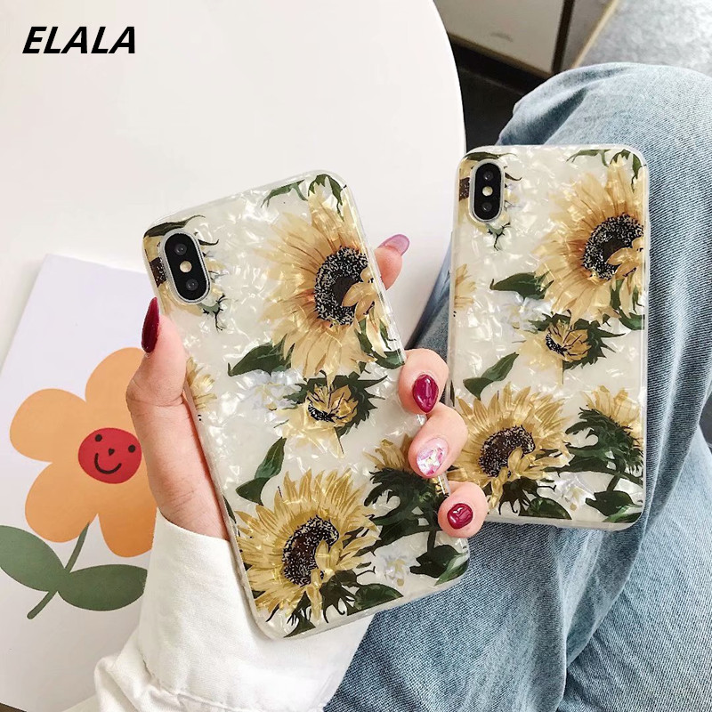 Tropical leaves Glitter Marble Case For iPhone 11 Pro XS Max XR X 6 S 7 8 Plus Soft Case Coconut tree Pattern Flower Cover