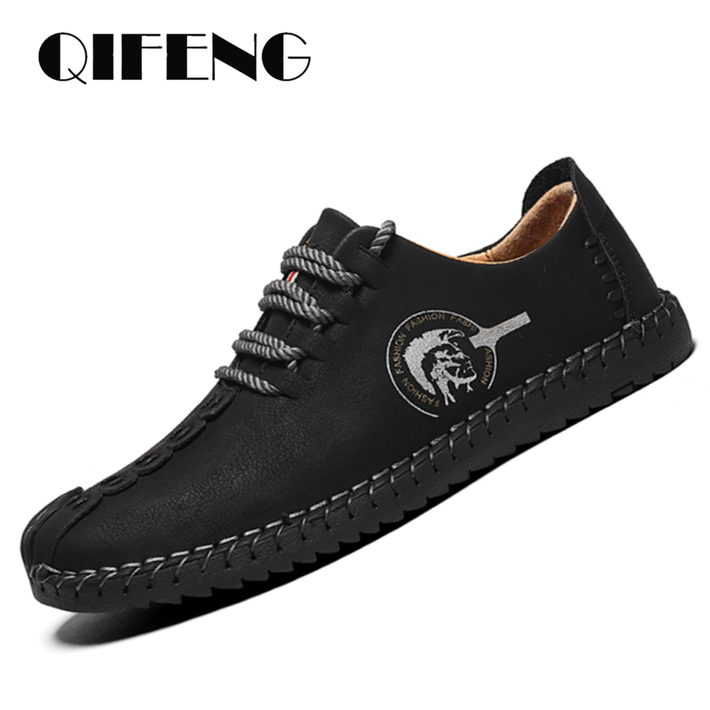 Men Casual Shoes Spring Autumn Large Size Loafers Fashion Leather Shoes Ancients Handtailor Footwear Youth Male Shoes with JeansMens Casual Shoes   -