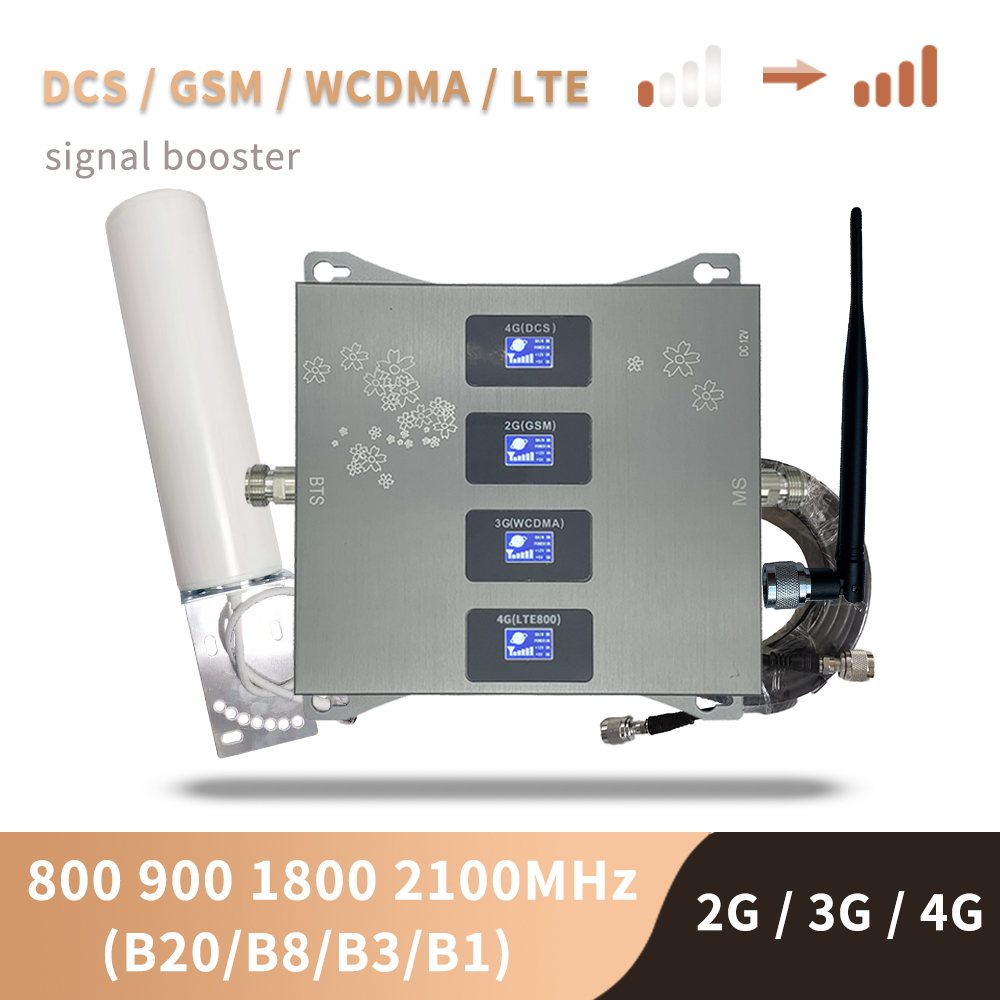 B20 800 900 1800 2100 Mhz Cell Phone Booster Tri Band Mobile Signal Amplifier 2G 3G 4G LTE Cellular Repeater GSM DCS WCDMA Set 1