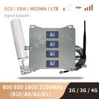 B20 800 900 1800 2100 Mhz Telefono Cellulare Ripetitore Tri Band Mobile Amplificatore di Segnale 2G 3G 4G LTE Ripetitore cellulare GSM DCS WCDMA Set