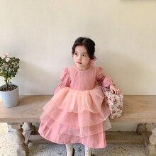 Весеннее многослойное платье маленькой принцессы в Корейском стиле, комплект из 2 предметов, модные милые платья для маленьких девочек с дл...