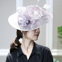 Handmade British Vintage Sinamay Hairband Women Fashion Violate Large Flower Feather Fascinator Headband Wedding Church Headwear