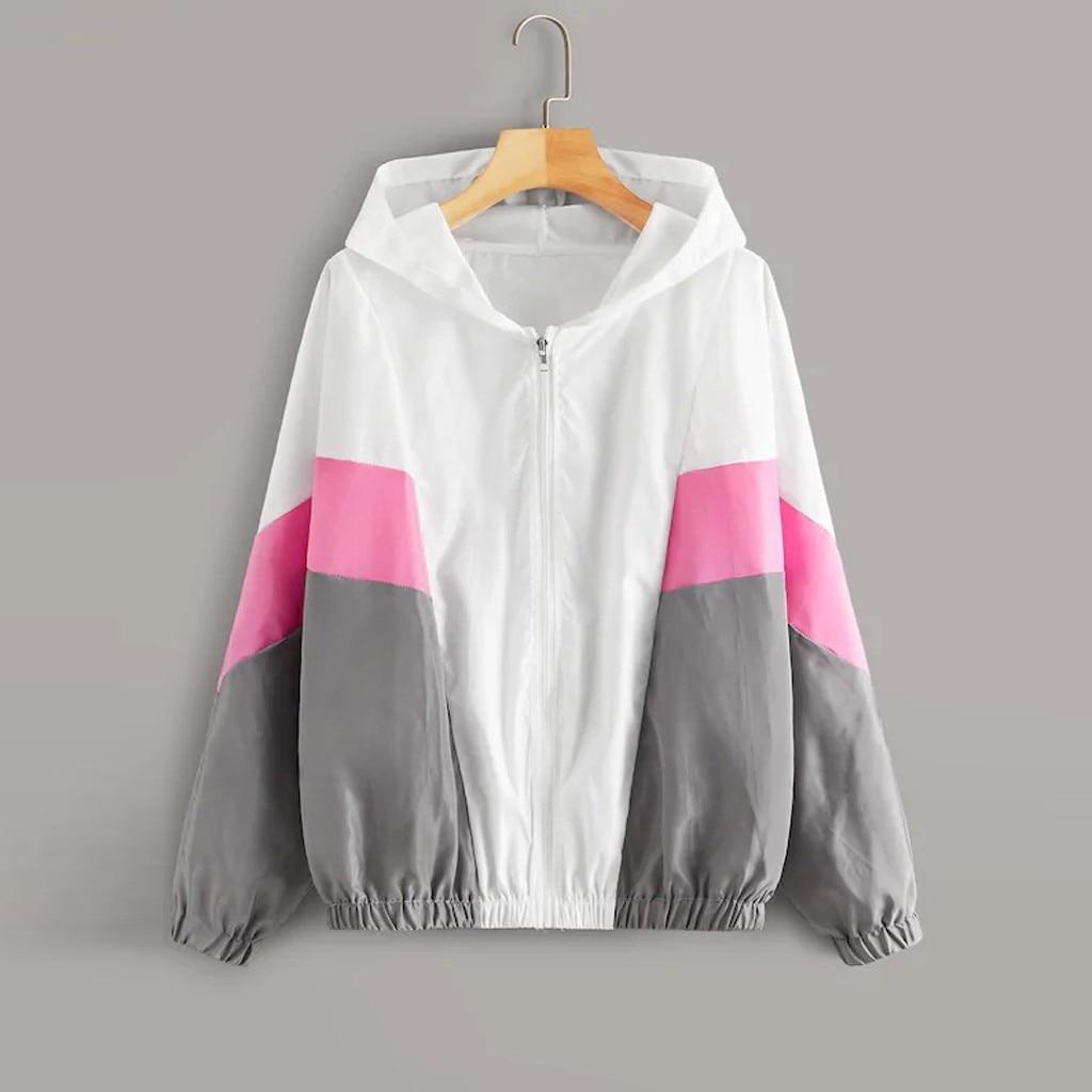 bluza damska christmas clothes hoodies women's Autumn Cut And Sew Panel Hooded Windbreaker Jacket Casual moletom feminino